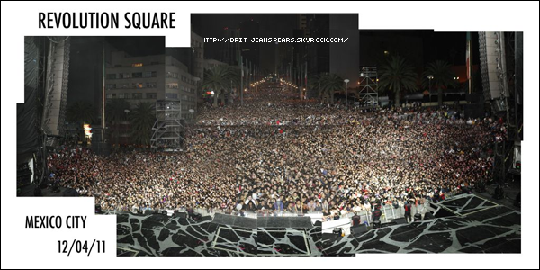 """. Suite au concert gratuit à Mexico, nouveau tweet de Britney, accompagné d'une photo : """"Merci aux 80 000 fans qui sont venus à Mexico. Je ne peux imaginer ce que vous avez dû faire si vous avez eu besoin d'aller aux toilettes ! Xxoo"""" ."""