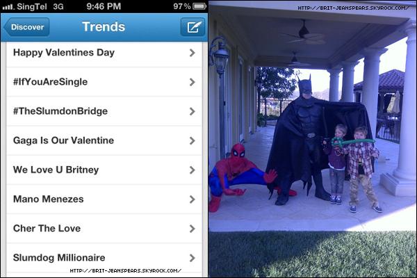 """. Nouveau tweet de Britney, accompagné d'une photo : """"Wow, j'ai vraiment les fans les plus adorables. Je vous aime aussi – Joyeuse St Valentin !"""" . + Un autre tweet, encore accompagné d'une photo : """"Batman et Spiderman sont venus souhaiter la St Valentin à mes fils hier !"""" ."""
