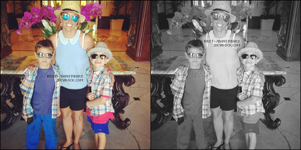 . Britney et ses fils ont été repérés se promenant à Westlake Village, le 12 juillet. .
