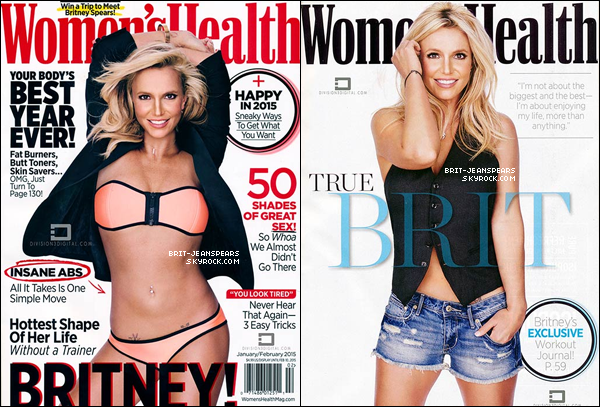 """. Britney est en couverture du magazine """"Women's Health"""" de Janvier/Février 2015. ."""