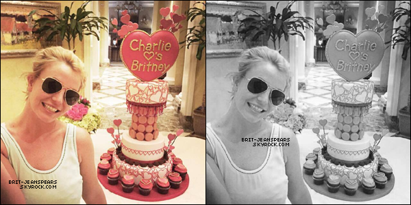 """. Nouveau tweet de Britney, accompagné d'une photo : """"La guerre des gâteaux est terminée! Charlie a gagné!!!! Joyeuse Saint-Valentin à tous 💝"""" ."""