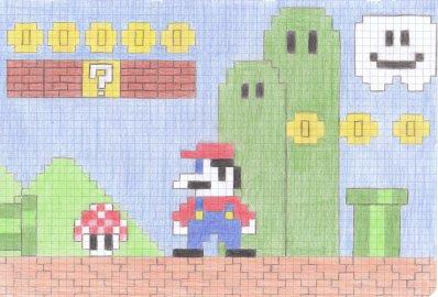 Dessin De Mario Bros 8 Bit Réalisé Seulement Avec Des