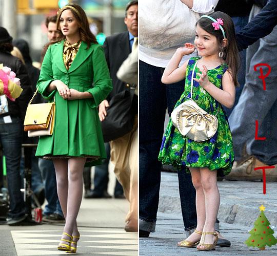 """Suri Cruise une future Blair Waldorf !La petit Suri Cruise de 3 ans est stylée depuis sa naissance ! Parfaite habillé de la tête au pied nous admirons son style de poupé mais j'avais jamais remarqué à quel point ces tenues sont semblables aux tenues de Blair Waldorf. En effet les 2 brunes ont un style """"preppy"""",féminin et ne sorte jamais sans leur serre-têtes et leurs sac à mains.Ceux-ci dit voila mes tenues favoris à la Blair Waldorf que porte Suri !"""