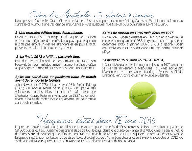 Rubrique Sport: Open d'Autralie - Gabriele