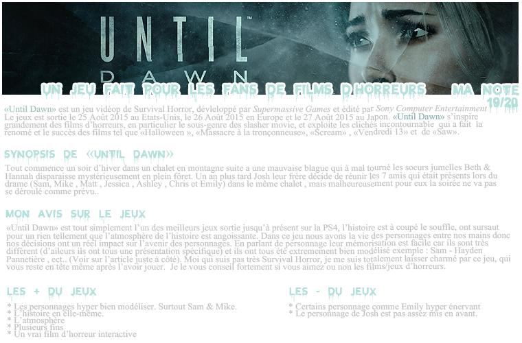 Rubrique Jeux vidéo - Until Dawn Test- Nuno