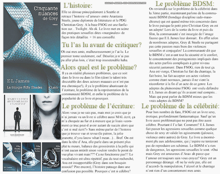 Rubrique livre: Mon avis sur le phénomène Fifty Shades  - Helena