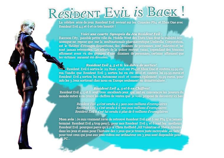 Rubrique Jeux vidéo - Resident Evil 4,5 et 6 debarque sur PS4 et Xbox One -Nuno