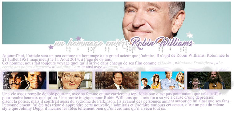 Rubrique People - Fiona // Un hommage a Robin Williams.