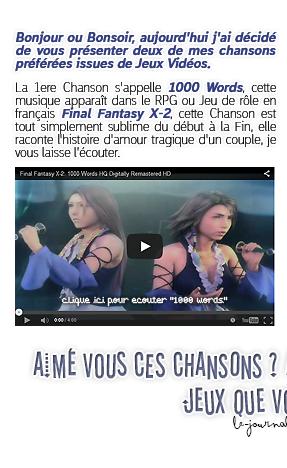 Rubrique Jeux vidéo - Mes 2 Chansons du moment issue de Jeux vidéo - Nuno