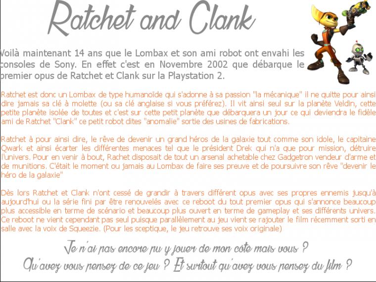 Rubrique Jeux Vidéo: Ratchet & Clank -Jason