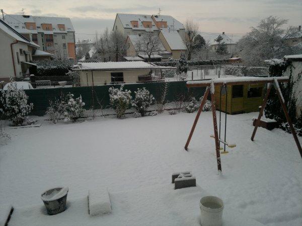 ce matin au reveil .... retour de la neige ....