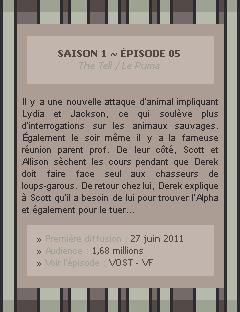 Teen Wolf Saison 01 - Episode 05 Crea - Déco