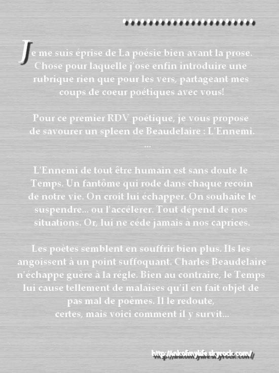 RDV Poétique : L'Ennemi (C.Baudelaire)