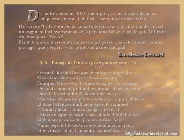 RDV Poétique (2) : La Foi, Lamartine