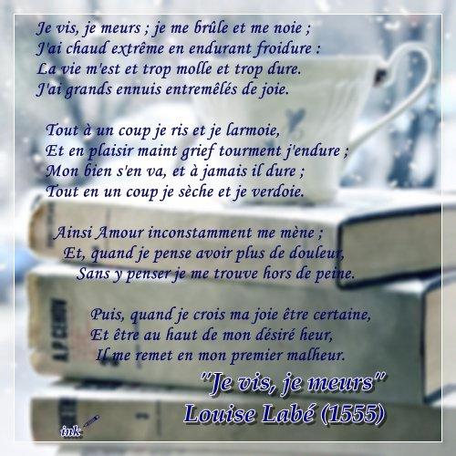 Je vis, je meurs (Louise Labé)