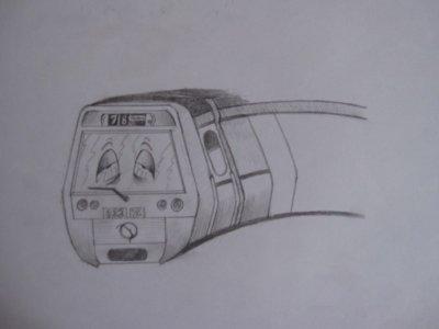 """Pas beaucoup avancé aujourd""""hui crevé par mes nuits comme le metro du dessin :("""
