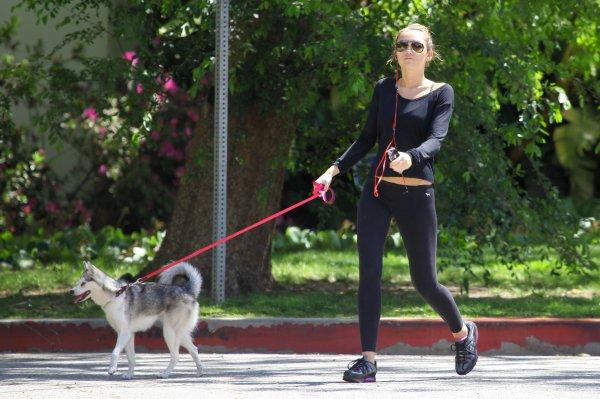 miley proméne son chien FLOYD.