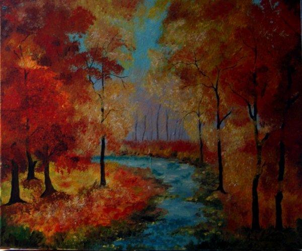 foret en automne acrylic sur toile 2016
