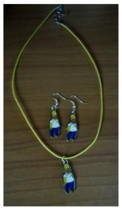 Ensemble collier et boucles d'oreilles SIMPSON
