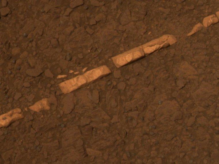Veine de gypse sur Mars = Homestake