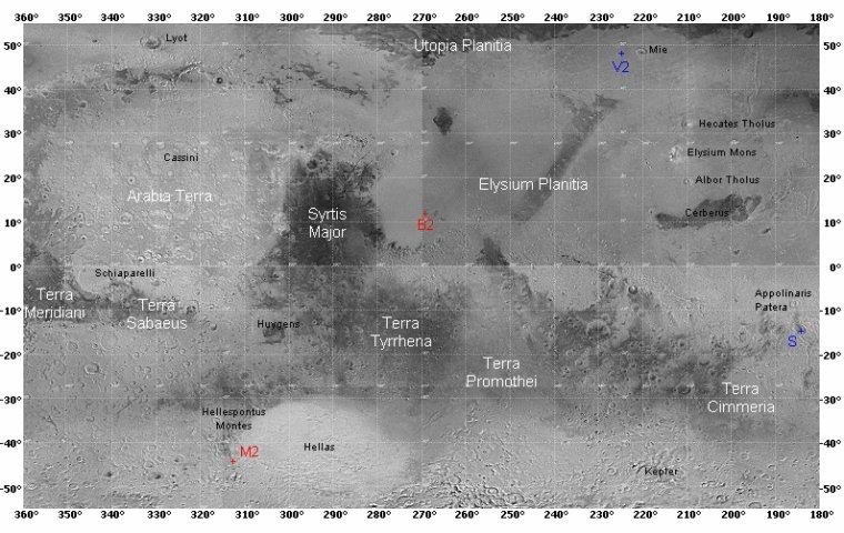 Atlas de Mars = Planisphère Martien = Cartographie Martienne