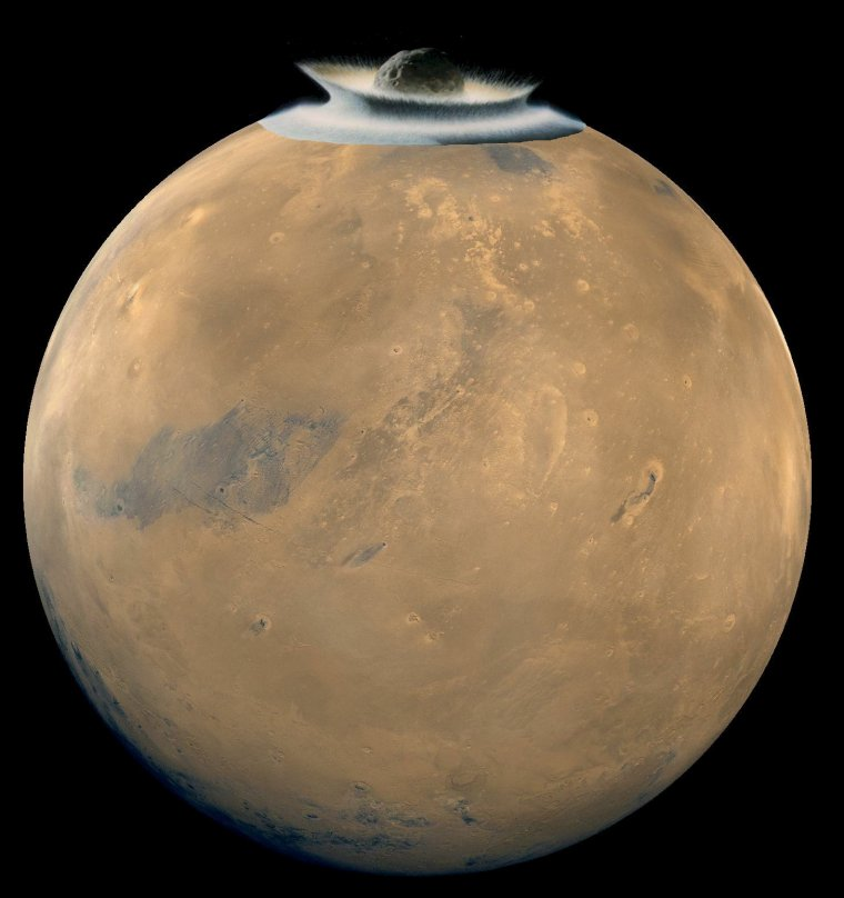 Collision volontaire entre une Météorite et la planète Mars