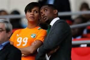 eh oui madame eto'o et bel et bien ivoirien elle est là pour soutenir les elephants  accampagre de son mari