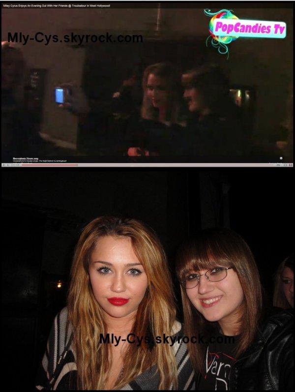 Lundi (15.11.10) Miley à été photographiée sortant d'un concert avec une amie. Elle a fait une photo avec une fan que vous découvrez ci-dessous. Une vidéo vous attend aussi.