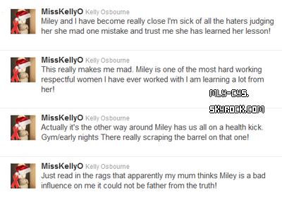 .  22 Décembre 2010 : L'actrice Kelly Osbourne, qui travaille actuellement avec Miley sur le film « So Undercover », a décidé de mettre les choses au clair sur son Twitter. Une manière efficace de faire taire les haineux, et de rassurer les fans de Miley. La belle a visiblement garder un mode de vie sain et n'est pas « à la dérive » contrairement à ce que beaucoup de personnes disent. . INFO : Le tournage de « So Undercover » sera interrompu pendant les fêtes, le dernier jours de tournage de l'année 2010 est prévu aujourd'hui (22 décembre).   .