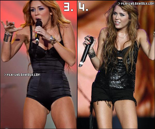.   28 Janvier 2011 : Quel tenue de scène de Miley préfères-tu? La 1. ? La 2. ? La 3. ? La 4. ? Dis-le moi par commentaire !.