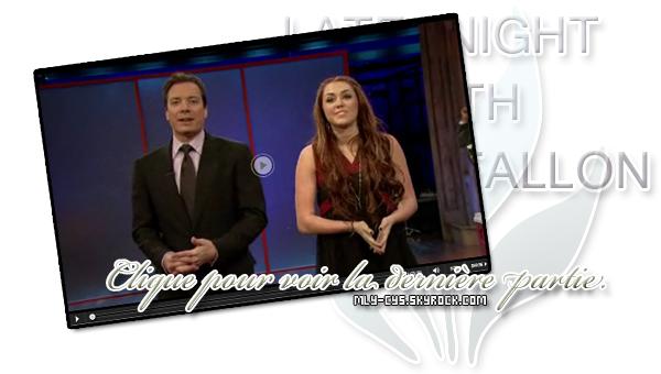 .   4 Mars 2011 : » Comme prévus, Cyrus était présente au « Saturday Night Live »  avec Jimmy Fallon. J'adore les photos et les vidéos ! :D À vous de découvrir ces très rigolotes photos !   +  Des candids de Miley allant dîner a NYC. + Une nouvelle vidéo promotionnelle du sketch de Miley, retrouvez la ici..