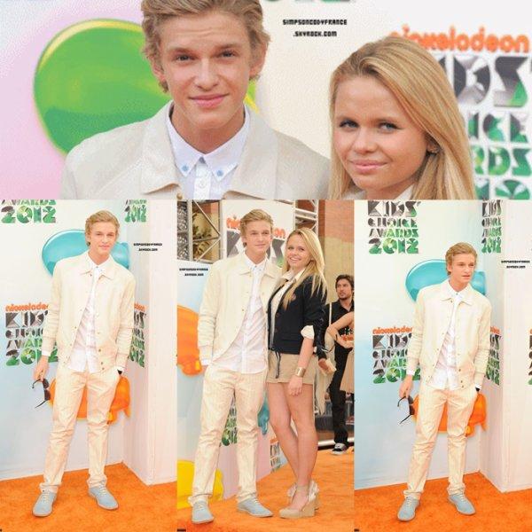 """............31/03/12 : Cody était à l'évènement Kid's Choice Awards avec sa soeur Alli. Top ou Flop ?  Cody n'as pas gagner de prix, mais le lendemain il y a eu les KCA Australien et il a gagner le prix """"Favourite Aussie Superstar""""............"""