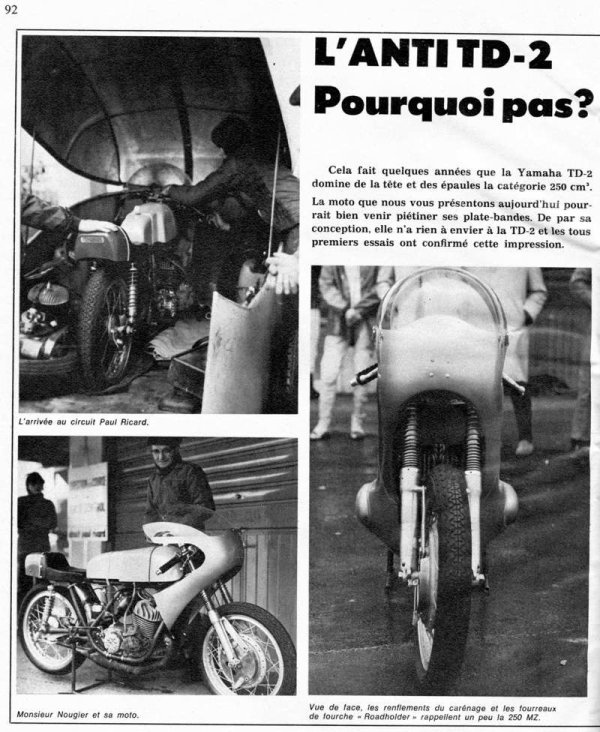 La 250 Nougier deux temps 1972 .  Documents Motocyclisme n°83 .