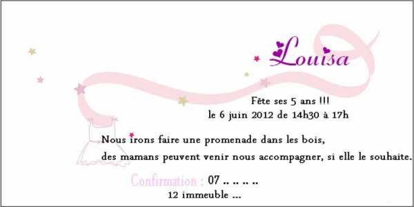 invitation anniversaire petite fille blog de creations faire part. Black Bedroom Furniture Sets. Home Design Ideas