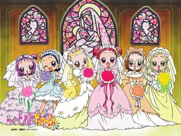 Image Magical Dorémi Dorémi,Emilie,Sophie,Loulou,Mindy et Flora habillées en princesses