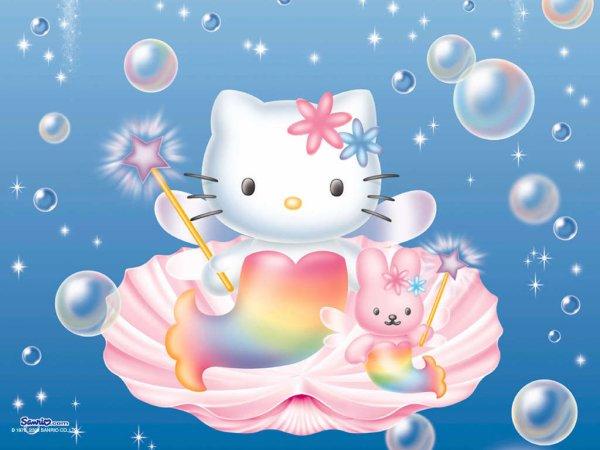 Image Hello Kitty et un lapin habillés en sirènes