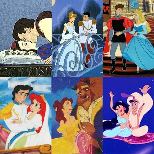 Image Cendrillon,Belle,Blanche-Neige,Ariel,Jasmine,Aurore et leurs princes