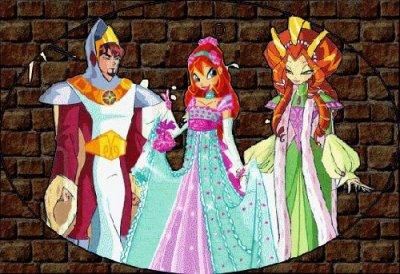 """Paroles de """"Un royaume lointain"""" + image Winx Club Bloom en robe de bal et ses parents"""
