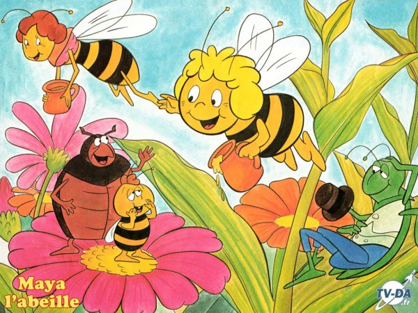 "Paroles de ""Maya l'abeille"" + image Maya l'abeille,Cassandre,Flip,Willy et Curt"