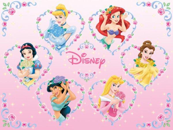 Image Cendrillon,Belle,Blanche-Neige,La Petite Sirène,La Belle au bois dormant et Jasmine