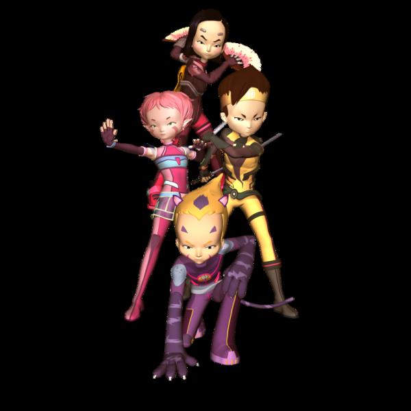 Image Code Lyoko Aelita,Yumi,Ulrich et Odd en lyokos-guerriers