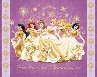Image Disney Cendrillon,Belle,Blanche-Neige,La Petite Sirène,La Belle au bois dormant et Jasmine
