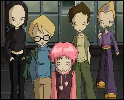 Image Code Lyoko Aelita,Yumi,Odd,Jérémy et Ulrich en humains