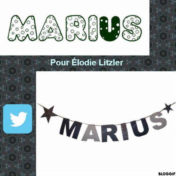 Montage le prénom de Marius créé par moi pour Élodie Litzler