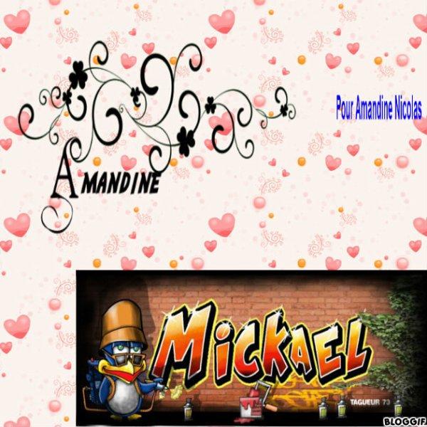 Montage les prénoms de Amandine et Mickaël créé par moi pour Amandine Nicolas