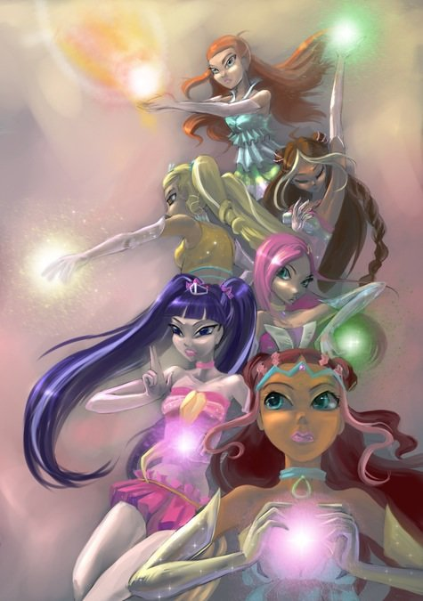 Image Winx Club Bloom,Stella,Flora,Musa,Layla et Tecna en Enchantix