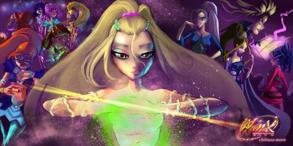 Image Winx Club Bloom,Stella,Flora,Layla,Musa et Tecna en Bloomix,Daphné en Sirenix,Selina en sorcière et Icy,Stormy et Darcy en Dark Mythix 3d