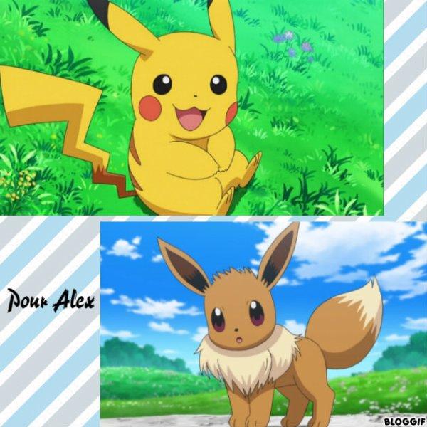 Montage Pokémon Pikachu et Evoli créé par moi pour Alex
