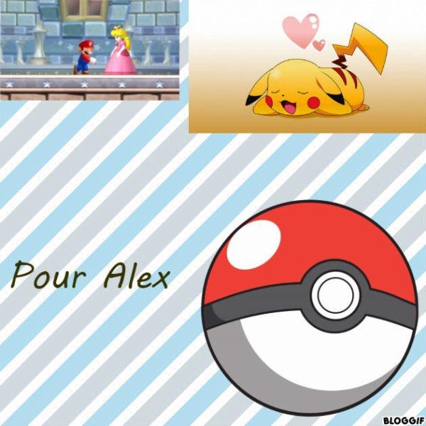 Montage New Super Mario Bros Mario et Peach et Pokémon la Pokéball et Pikachu créé par moi pour Alex