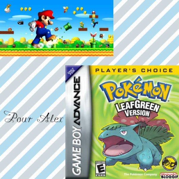 Montage New Super Mario Bros Mario et Luigi et Pokémon Bulbizarre créé par moi pour Alex